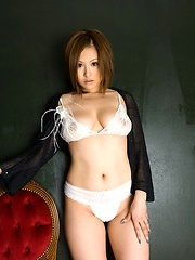 Yui Aoyama hot Asian model with big tits smiles and shows - Erotic and nude pussy pics at GirlSoftcore.com