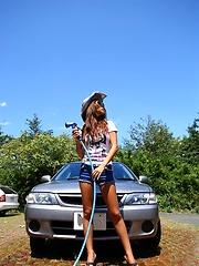 Yoko Yoshikawa hot Asian teen washing her car