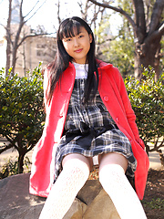 Japanese tramp poses in her school uniform as she waits - Erotic and nude pussy pics at GirlSoftcore.com