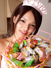 Tsubasa Akimoto Asian in kinky lingerie has candies to offer - Erotic and nude pussy pics at GirlSoftcore.com