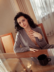 Anatali shows off her beautiful tits and sweet pussy on the chair. - Erotic and nude pussy pics at GirlSoftcore.com