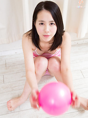 Cute Japanese sister Monika-chan plays with a pink bouncy ball and shows off tight teen camel toe! - Erotic and nude pussy pics at GirlSoftcore.com