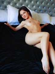 New model Lily White poses on the bed as she bares her delectable body. - Erotic and nude pussy pics at GirlSoftcore.com
