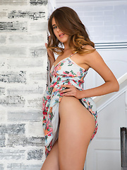 Luna Pica strips her flowery dress on the chair as she flaunts her slender body. - Erotic and nude pussy pics at GirlSoftcore.com