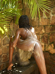 Nude ebony teenie girl takes a outdoor shower - Erotic and nude pussy pics at GirlSoftcore.com
