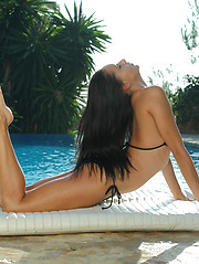 Stunning gymnast Mira strips out of black bikini, stretches, flexes and cums for you - Erotic and nude pussy pics at GirlSoftcore.com