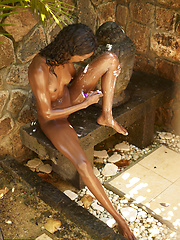 Super skinny ebony girl shaving her bronzed legs and pussy - Erotic and nude pussy pics at GirlSoftcore.com