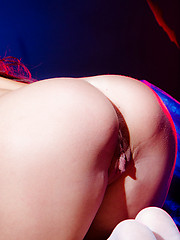 Amazing long haired witch in a hat and white socks showing shaved quim and fantastic butt. - Erotic and nude pussy pics at GirlSoftcore.com