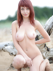 Wonderful busty redhead quean undressing and demonstrating enticing body on the seaside. - Erotic and nude pussy pics at GirlSoftcore.com