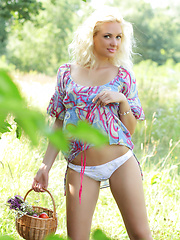 Gorgeous blonde teen chick with a basket of peaches taking off clothes outdoor on the nature. - Erotic and nude pussy pics at GirlSoftcore.com