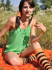 Marvelous teen girl in striped socks undressing and showing slender body on the nature. - Erotic and nude pussy pics at GirlSoftcore.com