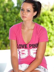 Cute teen babe Natasha in pink