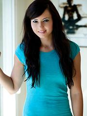 Brunette babe Natasha in bright blue shirt