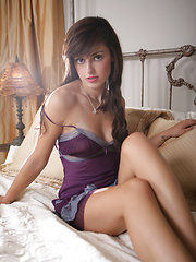 Erotic scene in purple dress from Autumn Riley - Erotic and nude pussy pics at GirlSoftcore.com