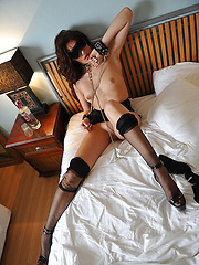 Skinny girl in stockings acts in a hot fetish scene - Erotic and nude pussy pics at GirlSoftcore.com
