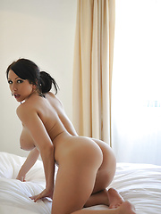 Nude brunette demonstrates her round ass and pretty tits - Erotic and nude pussy pics at GirlSoftcore.com