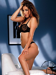 Glistens as she removes her black bra and panties. Jelena Jensen