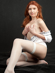 Orabelle evokes a naturally delightful presence as she strips her crisp white shirt and exhibits her fresh, young body with rosy, pink nipples and lush, untrimmed bush.  - Erotic and nude pussy pics at GirlSoftcore.com