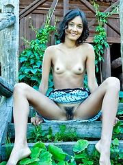 Chandra hairy bush compliments her natural and youthful appeal, and carefree beauty as she strips her blue-dotted dress and lounge under the golden afternoon sun. - Erotic and nude pussy pics at GirlSoftcore.com