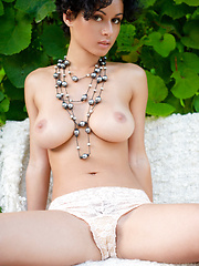 Sexy brunette babe with hairy pussy - Erotic and nude pussy pics at GirlSoftcore.com