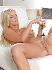 A chilled glass of champagne draws out the desire in busty blonde Marry Queen and sets her on a path to self-seduction - Erotic and nude pussy pics at GirlSoftcore.com