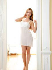 Irish Stripping her sexy white nightwear