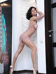 Elsa makes a gorgeous series in pink   fishnet top while she dances gracefully   like a ballerina that shows off her   stunning flexible body, long sexy legs   and especially her round perky butt.