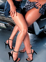 Aria Giovanni - play with eachother on top of a classic American car - Erotic and nude pussy pics at GirlSoftcore.com