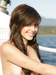 Naked Autumn on the boat - Erotic and nude pussy pics at GirlSoftcore.com