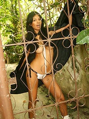 Karla Spice gets naughty in her black cape almost revealing it all - Erotic and nude pussy pics at GirlSoftcore.com