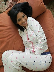 Karla looks hot and has some fun while taking her PJ's off - Erotic and nude pussy pics at GirlSoftcore.com