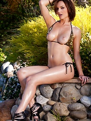 Dakota Rae - strips by the pool - Erotic and nude pussy pics at GirlSoftcore.com