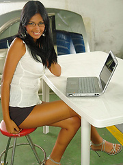 Karla checking her emails - Erotic and nude pussy pics at GirlSoftcore.com