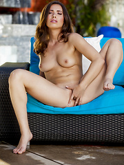 Casey Calvert touches her smooth inner thighs - Erotic and nude pussy pics at GirlSoftcore.com