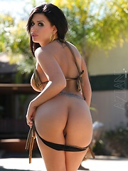 Brunette beauty Eva Angelina strips out of her sexy gold bikini by the pool. - Erotic and nude pussy pics at GirlSoftcore.com