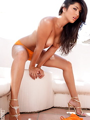 Sunny Leone - Orange bra and pants - Erotic and nude pussy pics at GirlSoftcore.com