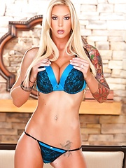 Sexy Brooke Banner in Teal Lingerie - Erotic and nude pussy pics at GirlSoftcore.com