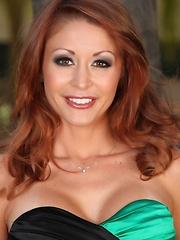 Monique Alexander struts her sexy stuff out to the back patio where she does a steamy striptease for all her fans.