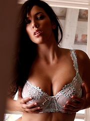 Jelena Jensen - shows off her spicy curves in white lingerie - Erotic and nude pussy pics at GirlSoftcore.com