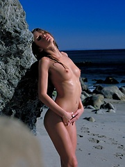 Monique Alexander - undresses at the beach - Erotic and nude pussy pics at GirlSoftcore.com
