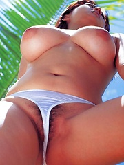 Ayami Sakurai posing at the beach - Erotic and nude pussy pics at GirlSoftcore.com