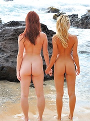 Lena and Melody Beach Bunnies - Erotic and nude pussy pics at GirlSoftcore.com