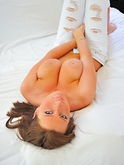 Katherine in torn pants - Erotic and nude pussy pics at GirlSoftcore.com