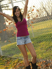 Destiny Moody enjoys a crisp autumn day as the clothes fall off her like so many leaves