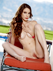 Rilee Marks flaunts her pussy beside the pool - Erotic and nude pussy pics at GirlSoftcore.com