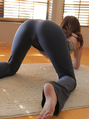 A yoga session turns into raunchy masturbation when brunette babe Jayden Taylors cant keep her hands off her needy pussy - Erotic and nude pussy pics at GirlSoftcore.com
