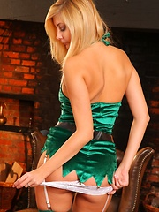 Sexy blonde Barka the ultimate Christmas elf