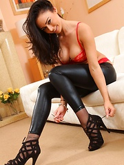 Amazing brunette Claire teasing in skin tight leggings and stockings (Non Nude) - Erotic and nude pussy pics at GirlSoftcore.com
