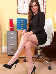 Aimee showing her curves on the desk - Erotic and nude pussy pics at GirlSoftcore.com