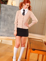 Elle in the classroom in school uniform - Erotic and nude pussy pics at GirlSoftcore.com